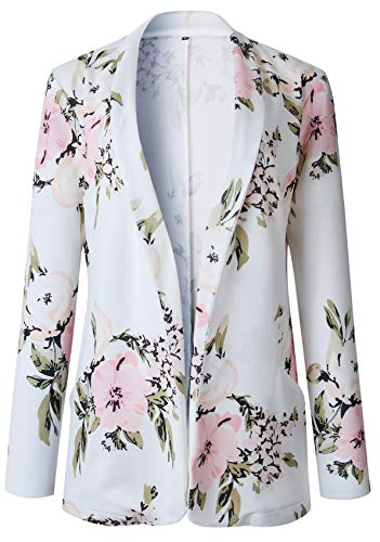 Manga Larga Collar Sin Botones Flor Flores Suit Blazer Americana Chaqueta Coat Capa Abrigo Sports Jacket...