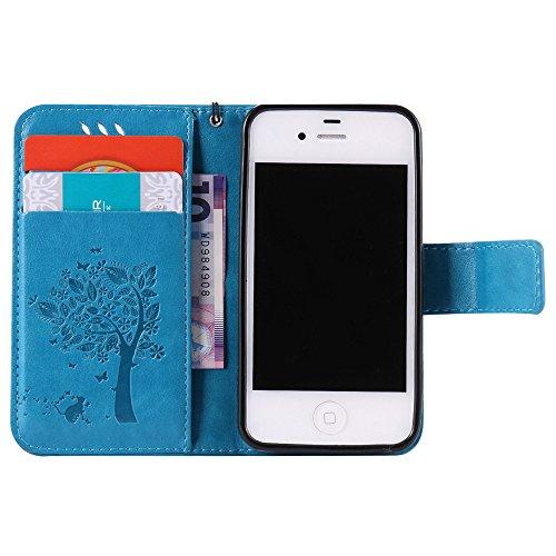 Nancen Wallet Case Tasche Hülle für Apple iPhone 5C (4 Zoll) Flip Schutzhülle Zubehör Lederhülle mit Silikon Back Cover PU Leder Handytasche im Bookstyle Stand Funktion , Schmetterling Schnalle Magnet Baum und Katze-7