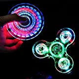 LED Fidget Spinner, CPEI Clear LED Light UP Fidget Finger Dice Anti-Stress Release Toys For Children Adults (LED Clear, Spinner)