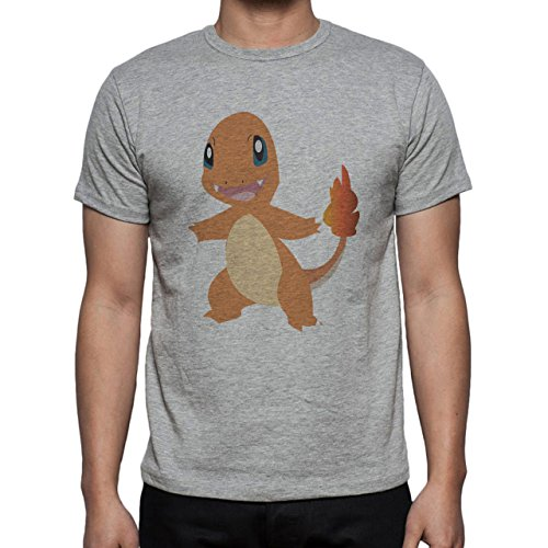 Pokemon Charmander Fire Dragon Cartoon Herren T-Shirt Grau
