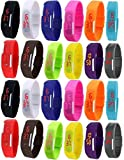 Pappi Boss - LIMTED TIME - IMPORTED - Unisex Multicolor - Set of 24 - JUMBO COMBO - Digital Rubber Jelly Slim Silicone Sports Led Smart Band Watch for Boys, Girls, Men, Women, Kids - EXTREME MOST DISCOUNT EVER