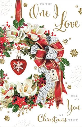 Carte de Noël (Jj6515) One I Love–Rouge et blanc Couronne de Noël avec cœur–Mistletoe Kisses Range–gaufrer, Foil et Flitter Finition