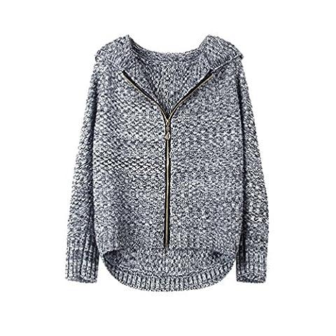 Moorui Damen Langarm Strickjacke Reißverschluss Kurze Cardigan mit Kapuze Outwear Tops Grau