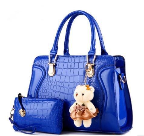 LDMB Damen-handtaschen Mode PU kleiner Bär Schulter Messenger Bag Handtasche 2 Stück deep blue