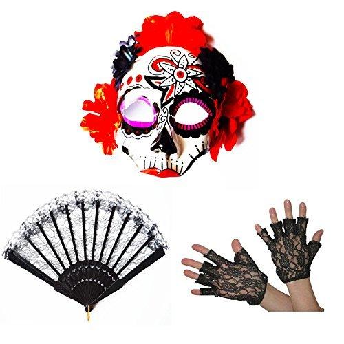 Der Schädel Toten Tag Kostüme (Tag Der Toten Halloween Kostüm Gesichtsmaske Blume Schädel Mexikanisch Handschuhe)