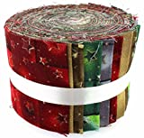 Tessuto Freedom Christmas Stars Jelly Baby roll, 100% cotone, multicolore, 9 x 9 x 7 cm