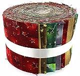 Tessuto Freedom Christmas Stars Jelly Baby roll, 100% cotone, multicolore, 9x 9x 7cm