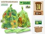SACCHETTI COMPOSTABILI BIODEGRADABILI PER RACCOLTA UMIDO-ORGANICO CM 50x60 (30 litri) - SCATOLA DA 50 SACCHI