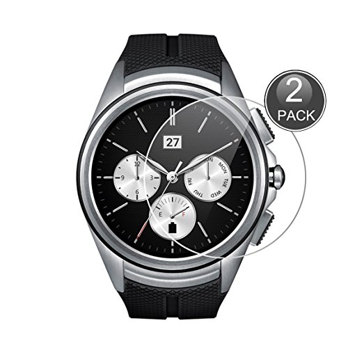 e-hamii [2-pack] protect film compatibile con lg g watch urbane 2nd w200, 9h calotta di protezione in vetro temperato, hd proteggi schermo anti-graffio(nota: non full coverage)