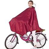 Damen Fahrrad Regenponcho , Regencape Atmungsaktiv mit Kapuze, Regenmantel Wasserdicht mit Reflektierendes Band, Lang Fahrradfahrer Fahrradregenponcho für Fahrrad Regenschutz (Rote)
