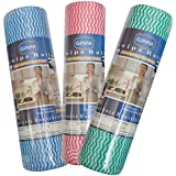 Ginni Non Woven Fabric Roll- Kitchen Swipe Rolls (Multi-Purpose House Holding Sheets)- Pack 0F 3 (50 Dry Sheets Per Pack)