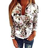 Eleery Veste Pull Femmel Manteau Jacket Floral Zip Automne Hiver Manches Longues Imprimé Fleur Sexy Casual Lâche (FR36-38)