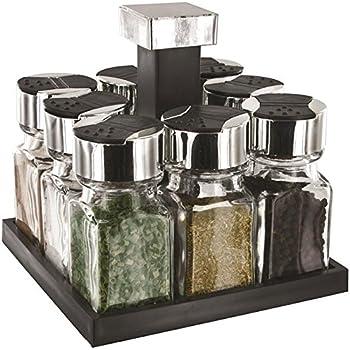 organisateur tourniquet 16 pices en acier bross et verre indiscount. Black Bedroom Furniture Sets. Home Design Ideas