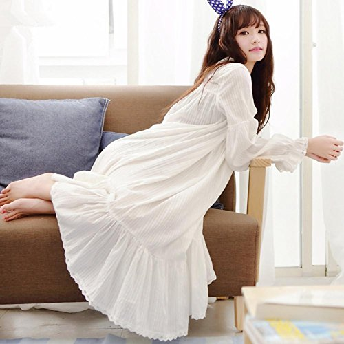 DMMSS Women 'S Herbst Und Winter Nachthemd Langarm - Abendkleid Baumwolle Pyjama Hause Service-Robe White