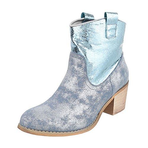 Ital-Design - Stivali western Donna blu argento