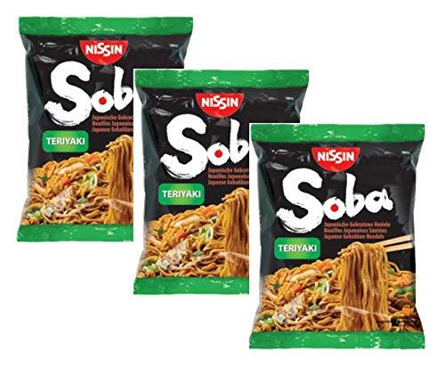 Nissin Soba Thin Noodles Japanese Buckwheat Noodles Fried with Teriyaki Taste - 3 x 110 Gram