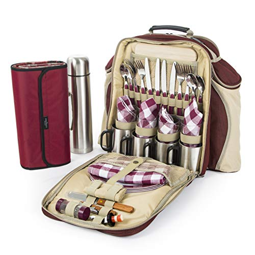 Greenfield Collection Super Deluxe Mulberry Red Picnic Backpack Hamper for Four People with Matching Picnic Blanket -