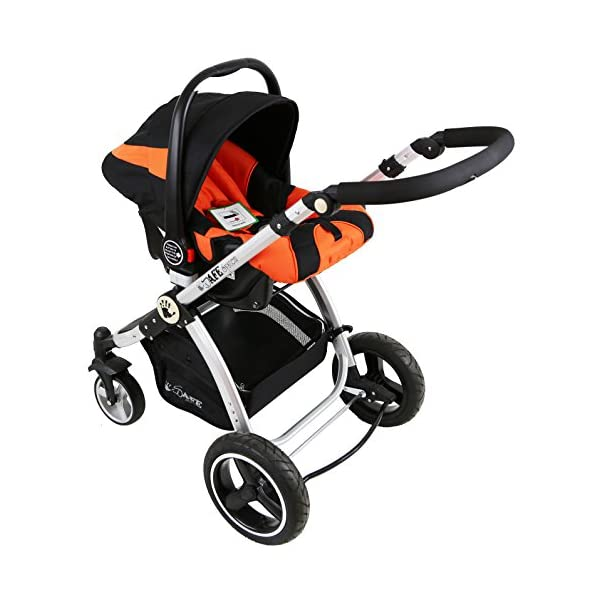 i-Safe System - Orange Trio Travel System Pram & Luxury Stroller 3 in 1 Complete with Car Seat iSafe ABSOLUTELY 100% SATISFACTION GUARANTEE! With Manufacturers 12 Months Warranty*super Amazing Quality! One Of The Very Best Pram Systems In The UK! A Truly State Of the Art Product Built With The Parent And Baby In Mind! Complete With Boot Cover, Luxury Liner, 5 Point Harness, Shopping Basket With Closed Ziped Top, High Quality Luxury Car Seat High Quality Rubber Inflatable Wheels With The Full All around Soft Suspension For That Perfect Unrivalled Ride. 3 in 1 Stroller / Pram Extremely Easy Conversion To A Full Size Carrycot For Unrivalled Comfort 8