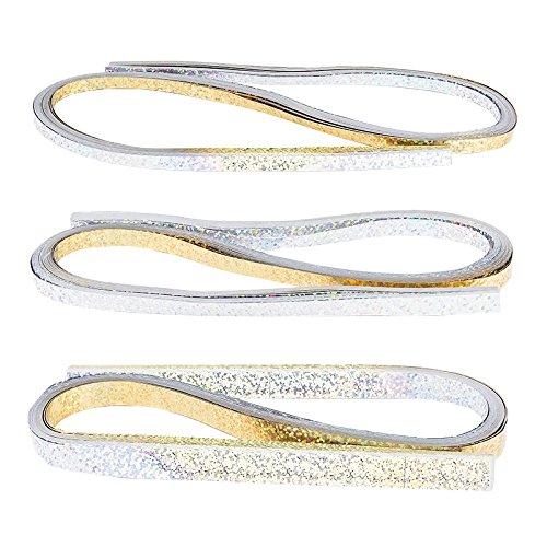 Quilling-Set metallic | 150 Folien-Streifen | 3 Größen (5/7 / 10 mm), 54 cm lang | Papierstreifen aus Metallic-Folie | Ideal für Fröbel-Sterne (silber & gold, Holografie Effekt)