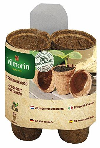 Vilmorin 3990604 Pack de 32 Godets Biodégradables Coco Rond 6 cm