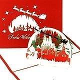 'Pop Up carta 'Colonia–Paesaggio invernale con pupazzo di neve–Buon Natale–Cartolina di Natale 3d con busta–Fatta a Mano