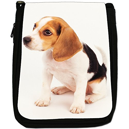 Beagle Cane Medio Nero Borsa In Tela, taglia M Beagle Puppy Dog