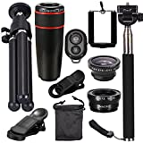 XCSOURCE® 10en1 Mini Lens 8X Telescope + Fisheye + Wide Angle Lens + Macro Lens Kit + Mini Tripod + Manfrotto Selfie Stick with Bluetooth Remote for iPhone 4S 5 5S 5 °C 6 Samsung Galaxy S3 S4 S5 S6 Edge Note 2 3 4 HTC Nokia LG Blackberry DC600