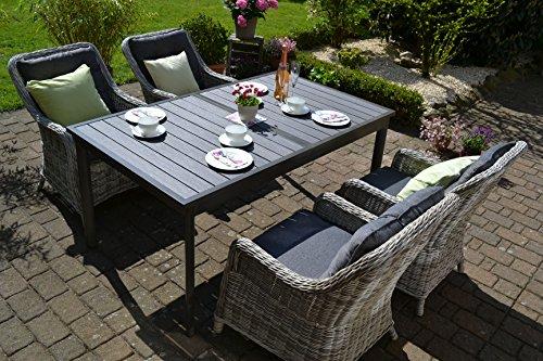 bomey Rattan Lounge Set I Gartenmöbel Set Como 5-Teilig I Essgarnitur mit Polstern I Sitzgruppe Grau + Tisch Ausziehbar + Polster Grau I Dining Lounge für Terrasse + Wintergarten