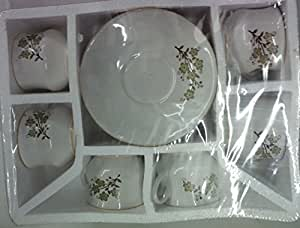 Cup and Saucer Set of 6 ( No Bone Ash Used) Printed Ceramic