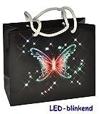 Unbekannt LED blinkend - Geschenkbeutel / Geschenktasche - Schmetterling - mit Batterie - Geschenktüte Tüte Beutel Tasche - ideal zum Geburtstag, Hochzeit & Jubiläum - Schmetterlinge Tiere