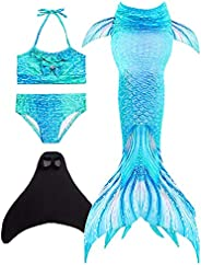 Wishliker Cola de Sirena Traje de baño con Aleta niñas para Nadar