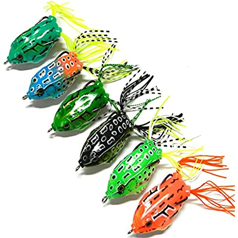 bloomfall pesca 6grandi Cute Frog topwater Fishing Lure Crankbait Ganci Bass Bait Tackle Nuovo - Spinnerbait Ganci