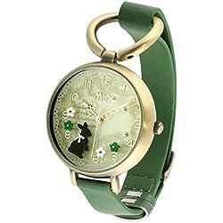 foxqueena-0683D Polymer Clay Forest Kaninchen Pattern Mädchen Lady Handgelenk Uhren Grün