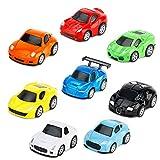 Tire Hacia Atrás el Metálico Coches de Juguetes Miniature Vehiculos Camion Modelos para Niños y Niñas, Pack de 8 vehículos