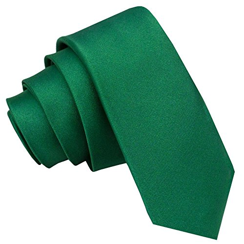 Nueva corbata fina lisa de satén DQT - Verde Esmeralda