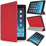 iHarbort® iPad Air 2 Hülle - Premium PU Leder Tasche Hülle Etui Schutzhülle Ständer Smart Cover für iPad Air 2, mit Schlaf / Wach-up-Funktion (iPad Air 2, Rot)