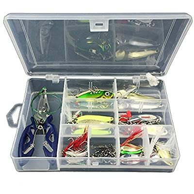 GossipBoy 42Pcs / Set Fishing Lure Kits Mixed Universal Assorted Fishing Lure Set with Fishing Tackle Box - Including Spinners, VIB, Treble Hooks, Single Hooks, Swivels, Pliers, Leaders, etc for Freshwater Saltwater Fishing from GossipBoy