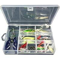 GossipBoy 42Pcs / Set Fishing Lure Kits Mixed Universal Assorted Fishing Lure Set with Fishing Tackle Box - Including Spinners, VIB, Treble Hooks, Single Hooks, Swivels, Pliers, Leaders, etc for Freshwater Saltwater Fishing