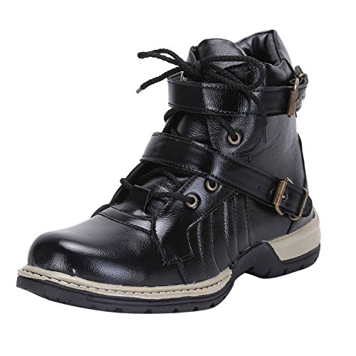 Freedom Daisy Men's Black Faux Leather Boots (7)