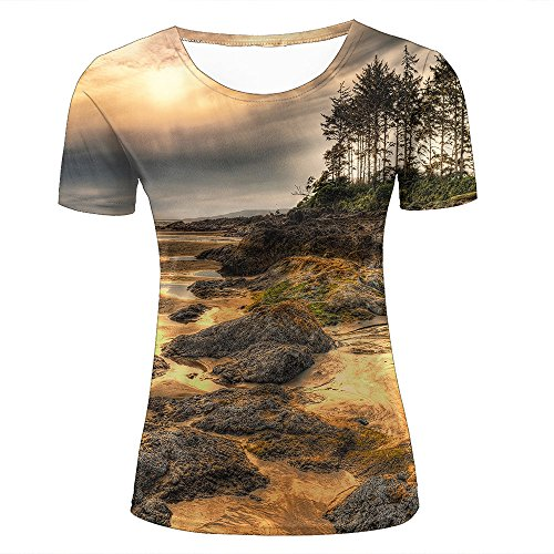 Mens Womens Casual Design 3D Printed Bumpy Beach Graphic Short Sleeve  Couple T-Shirts Top 2525267f401