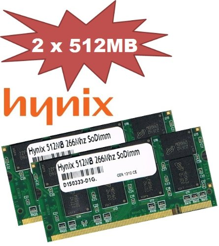 1GB Dual Channel Kit Mustang / Hynix original 2 x 512 MB 200 pin DDR-266 (PC-2100) SO-DIMM double side für DDR1 Notebooks (512 Mb Pc 2100 Ddr)