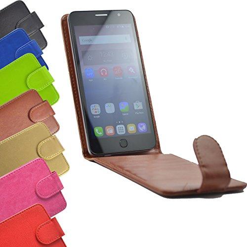 Flip Case für TP-LINK Neffos C5A Smartphone Handy Hülle Tasche Slide Kleber Schutz Cover Etui Schutzhülle Handytasche Flip Style in Braun Farbe