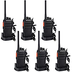 Retevis RT24 Plus sans Licence Talkie Walkie Professionnel Rechargeable Radio PMR446 Radio Bidirectionnelle Scan Surveillance 16 Canaux CTCSS/DCS avec Écouteurs (6pcs,Noir)