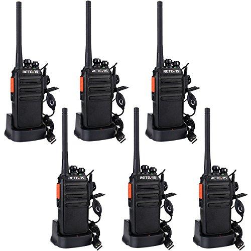 Retevis RT24 Plus sans Licence Talkie Walkie Professionnel Rechargeable Radio PMR446 Radio Bidirectionnelle Scan Surveillance 16 Canaux CTCSS/DCS avec Écouteurs (6pcs,Noir)