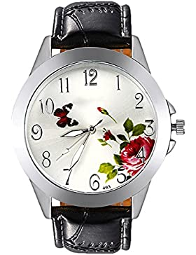 Sanwood Unisex Butterfly Flower Armbanduhr Schwarz Gurt Silber Fall