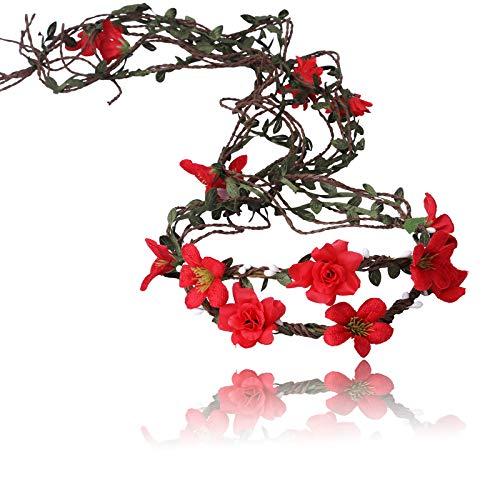 AWAYTR Boho Braut Blume Girlande Stirnband - Frauen Mädchen Einstellbare Baum Rattan Blatt Floral Haar Kranz Hochzeit Fotografie Dekoration (Rot)