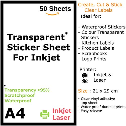 TeQuiero 50 Transparent Sticker Sheet A4 Paper Label Self Adhesive Sheets for Printing Stickers and Clear Labels (Inkjet & Laser Printer) - 50 Sheets