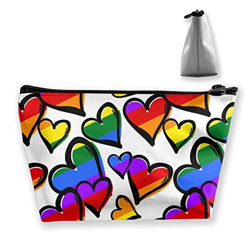 Homosexueller Stolz-Regenbogen farbige Herz-Make-upbeutel-Reise umkleidet Stift-Bleistift-Lagerung des Reißverschlusses