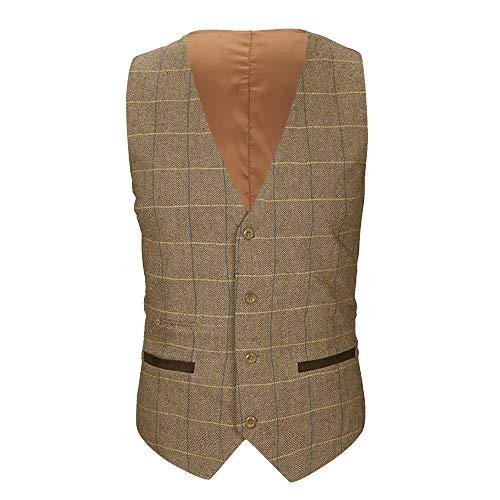 Sannysis Anzugweste Herren Herbst Winter Lässige Tasche Beston Droit Mantel Männer Plaid Knopf Jacke Draussen Britische Anzug Weste Bluse Top Coat Plaid Vintage Mantel