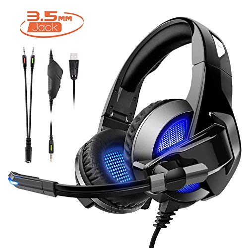 Gaming Headset für PS4/XBox One,Amicool Stereo Bass Surround/Noise Reduction/Volume Control/Over-Ear Gaming kopfhörer mit mikrofon für Laptop PC Mac Computer and Smartphone -